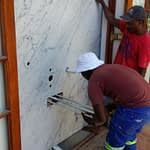 Renovation Stellenbosch Cape Town showing installation of Victorian free standing bath mixer